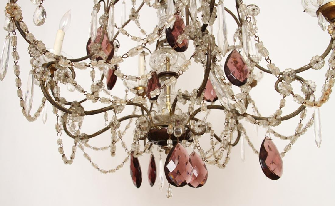 FRENCH WROUGHT IRON AND GLASS SIX ARM CHANDELIER - 5