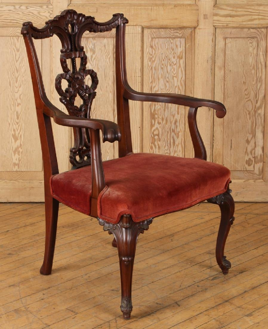 CHIPPENDALE STYLE CARVED MAHOGANY ARM CHAIR C1930