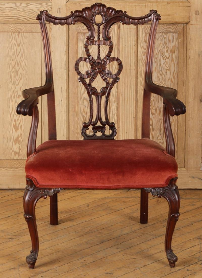CHIPPENDALE STYLE CARVED MAHOGANY ARM CHAIR C1930 - 2