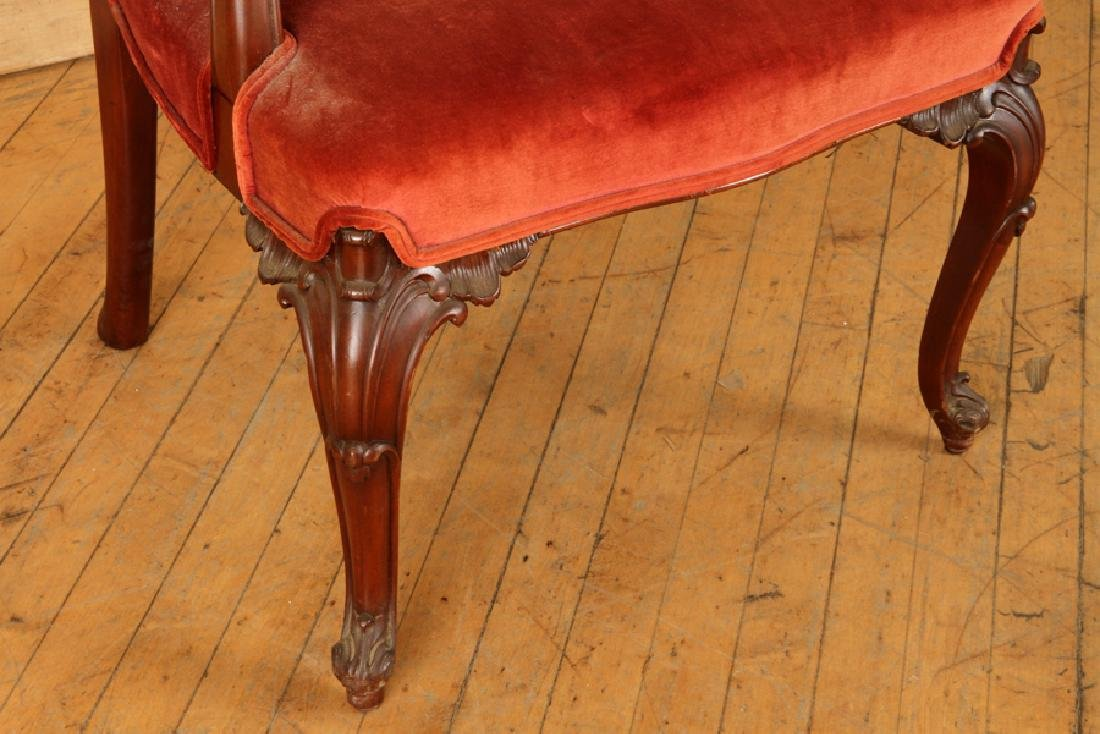 CHIPPENDALE STYLE CARVED MAHOGANY ARM CHAIR C1930 - 5
