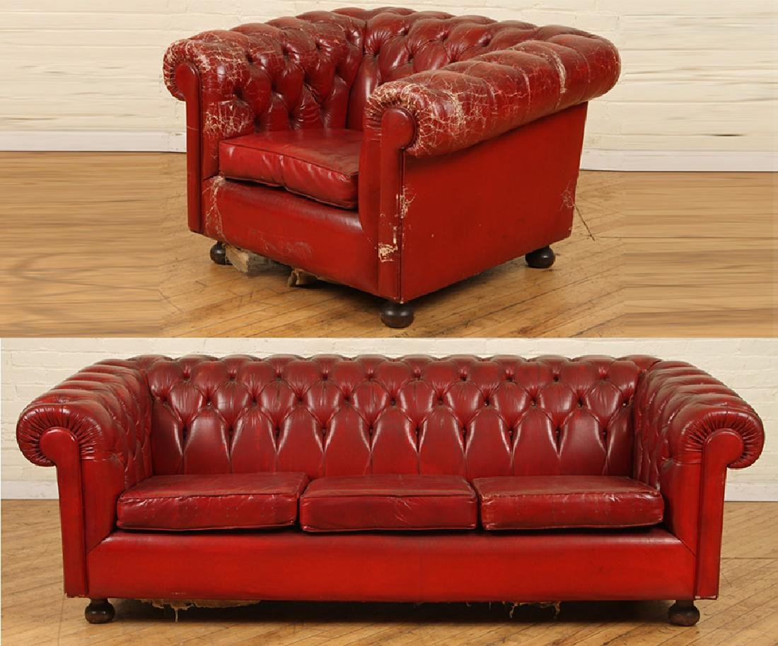 LEATHER CHESTERFIELD SOFA WITH MATCHING CHAIR