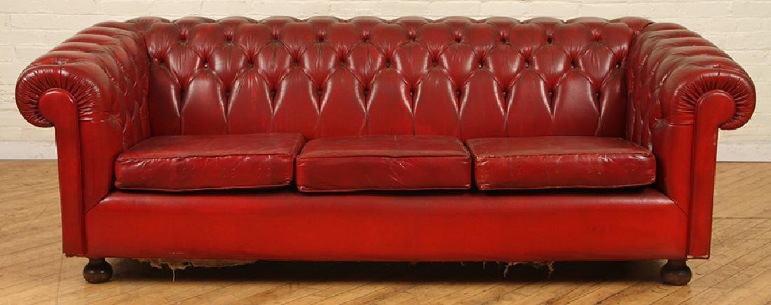 LEATHER CHESTERFIELD SOFA WITH MATCHING CHAIR - 2