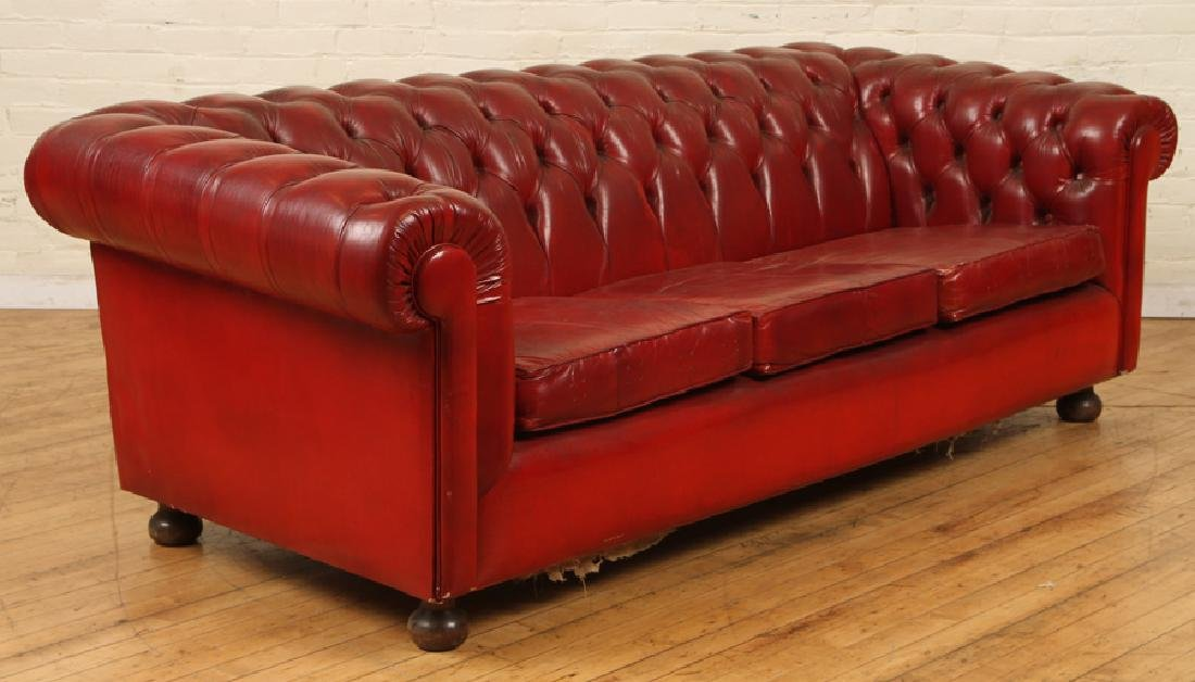 LEATHER CHESTERFIELD SOFA WITH MATCHING CHAIR - 3