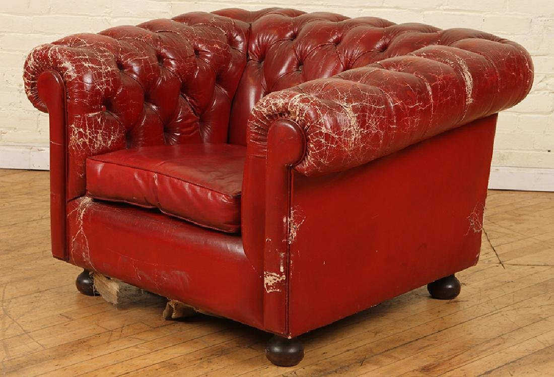 LEATHER CHESTERFIELD SOFA WITH MATCHING CHAIR - 5
