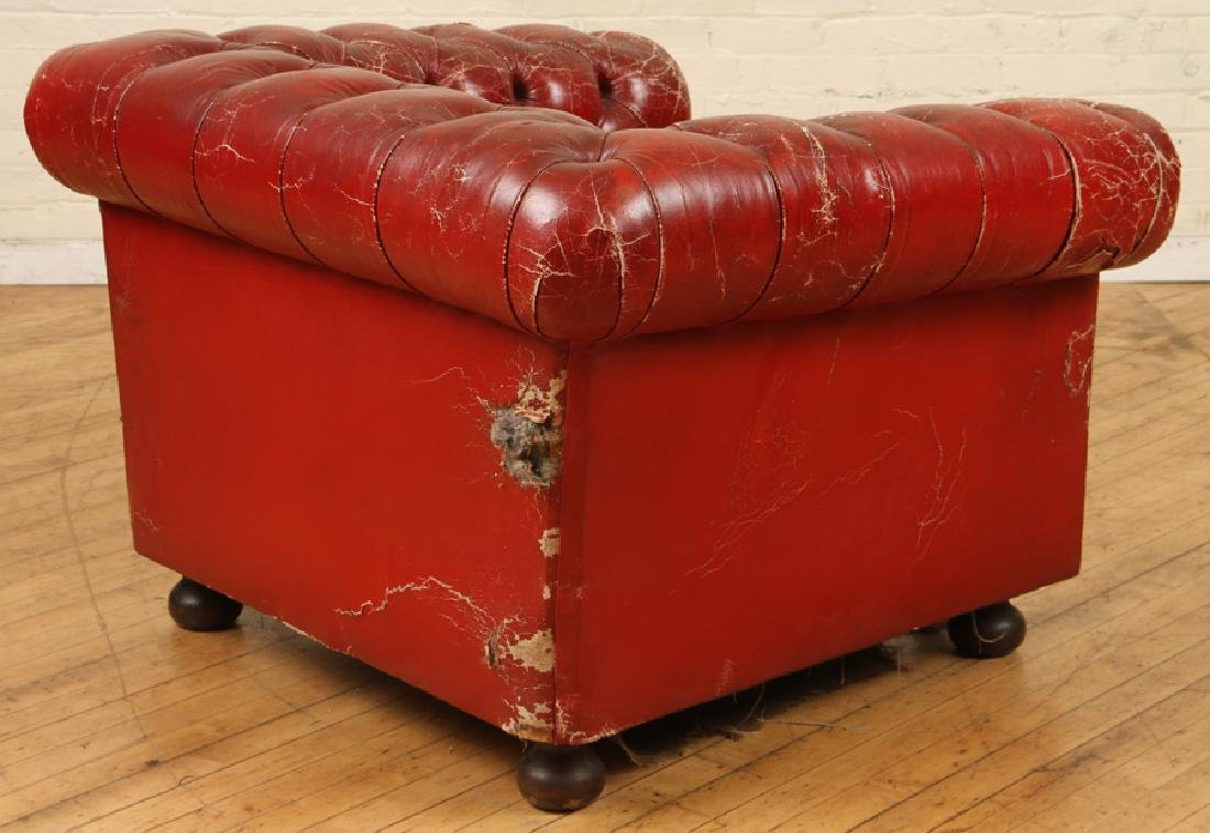 LEATHER CHESTERFIELD SOFA WITH MATCHING CHAIR - 6