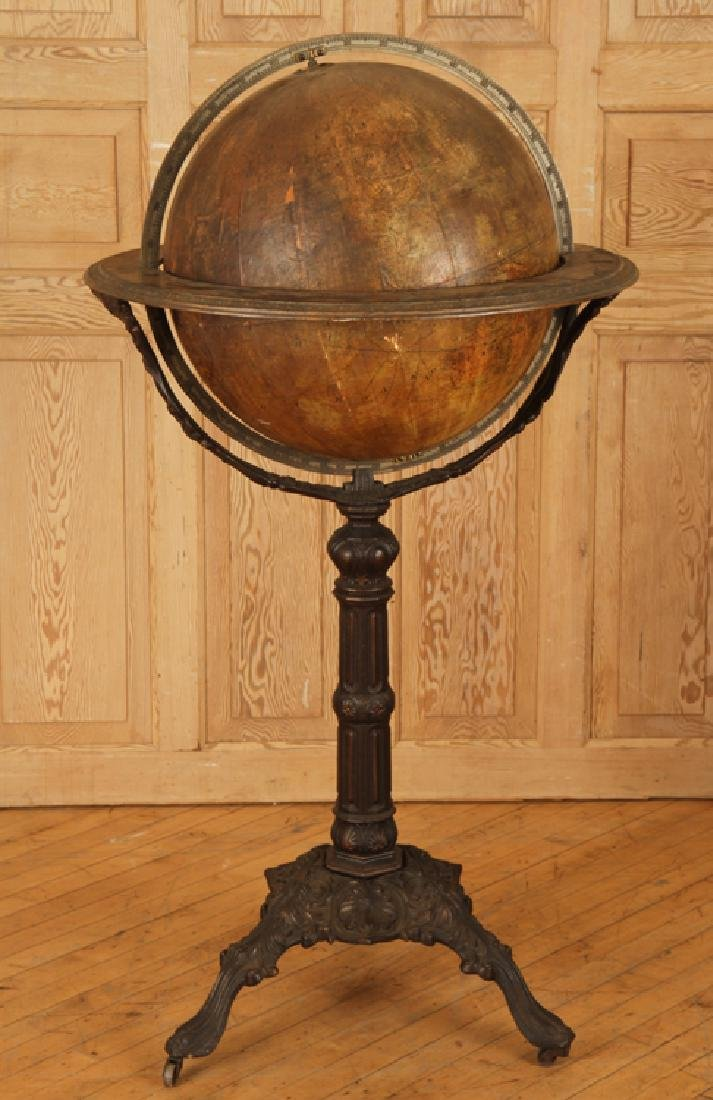 19TH C. TERRESTRIAL GLOBE ORNATE CAST IRON BASE