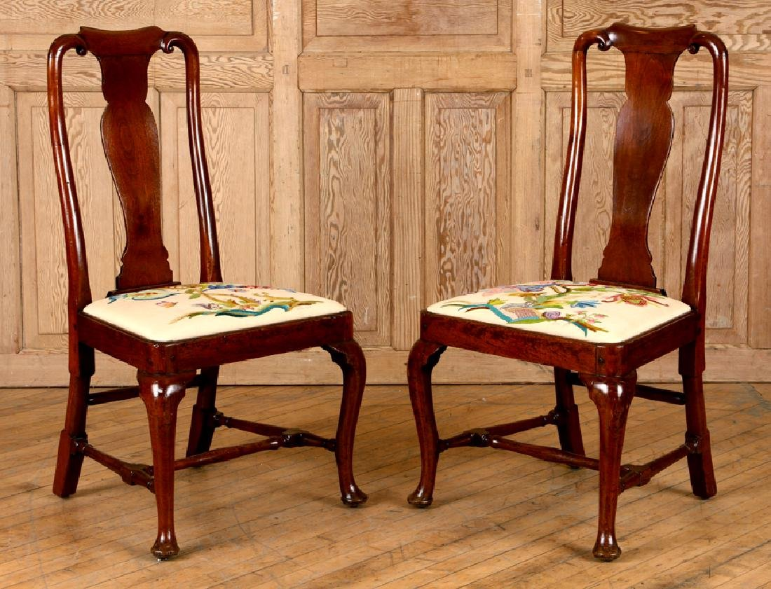 PAIR 18TH C. WALNUT QUEEN ANNE STYLE SIDE CHAIRS