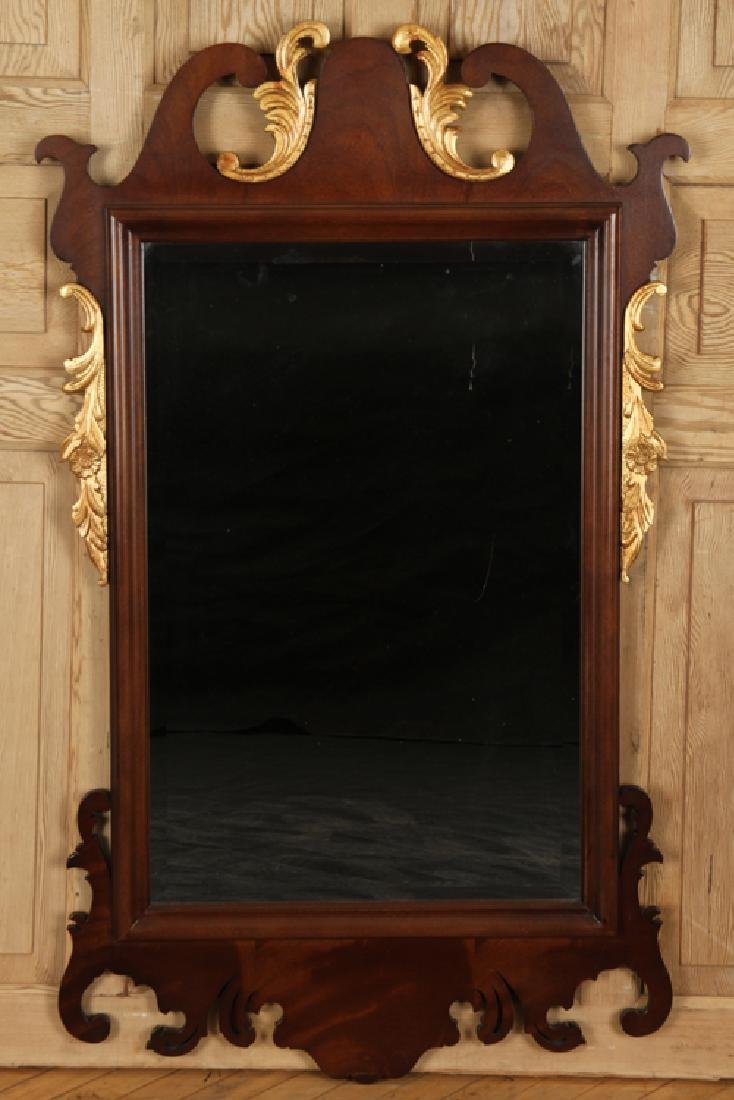 CHIPPENDALE STYLE MAHOGANY MIRROR CARVED BEVELED