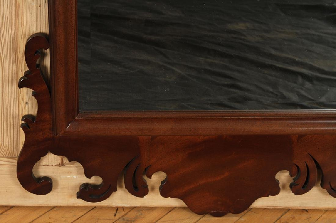 CHIPPENDALE STYLE MAHOGANY MIRROR CARVED BEVELED - 4