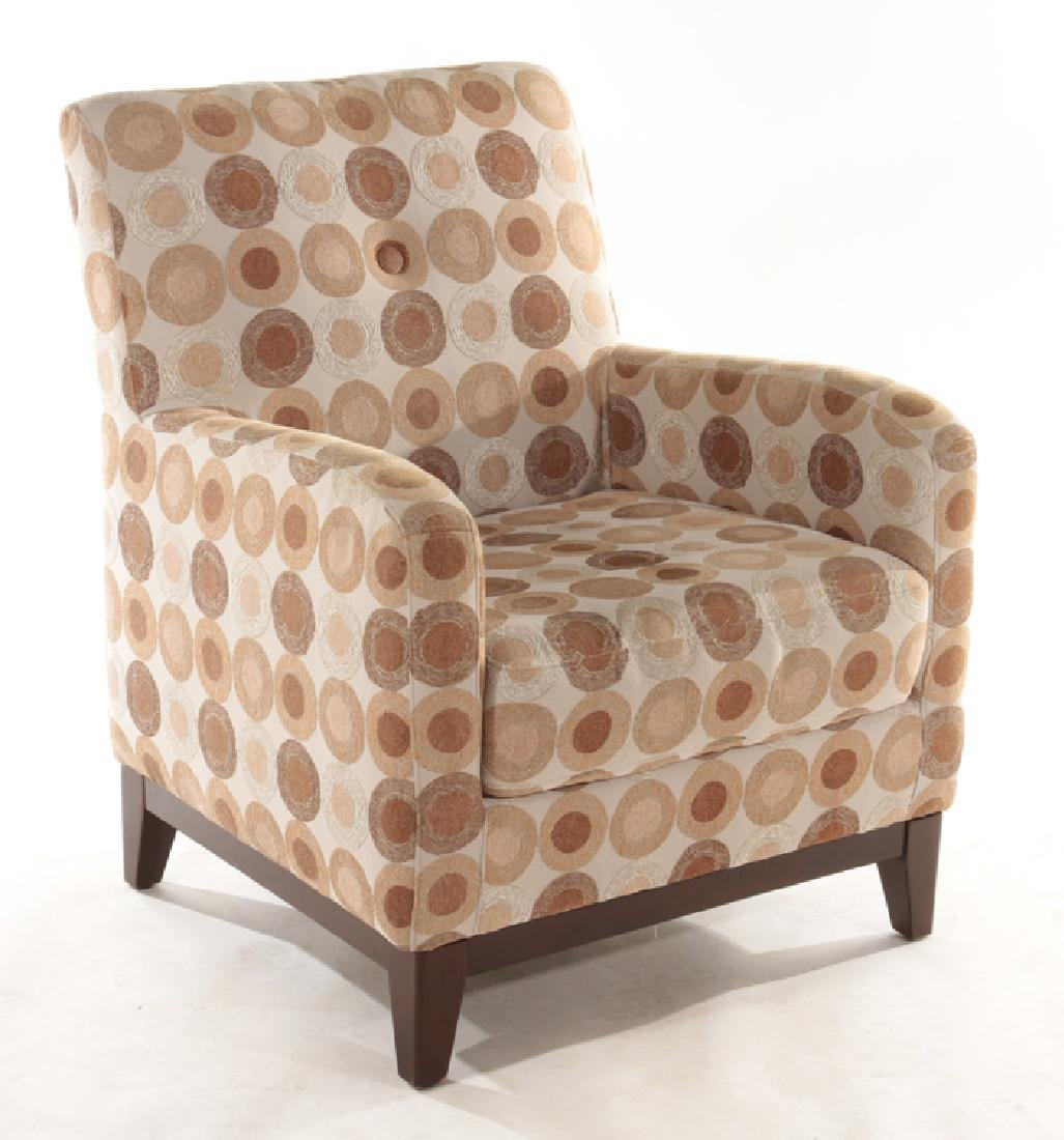 PAIR CONTEMPORARY UPHOLSTERED CLUB CHAIRS - 2