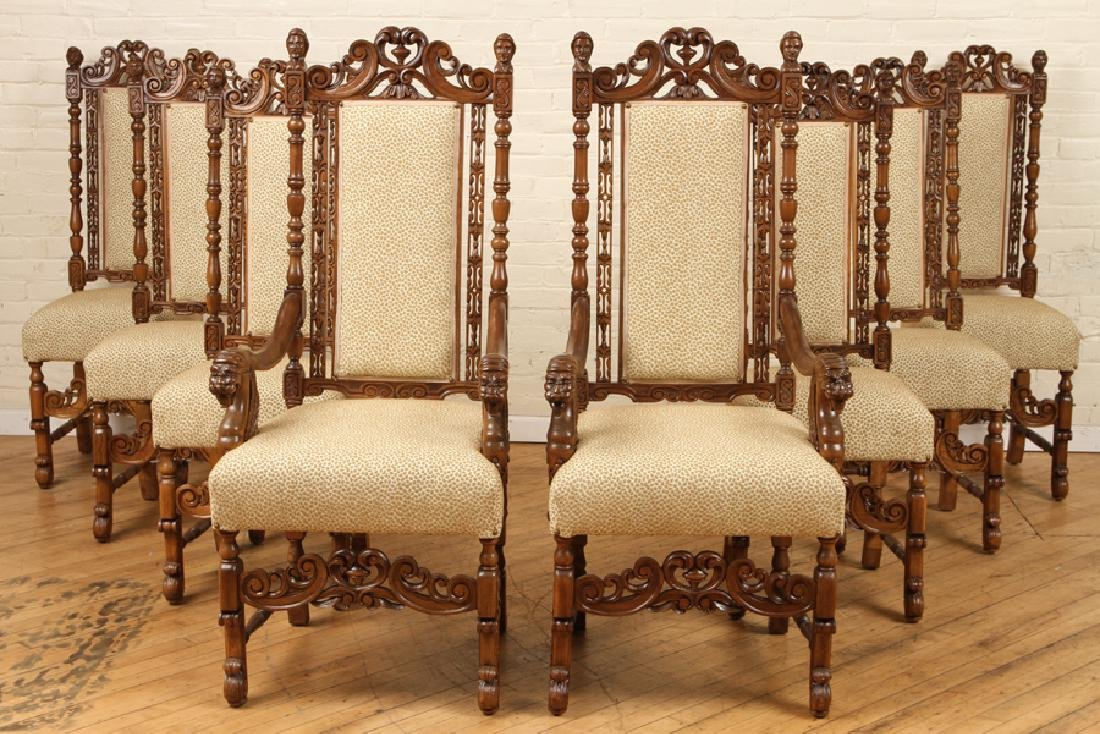 SET 8 DINING CHAIRS GRIFFIN CARVED ARM RESTS 1890