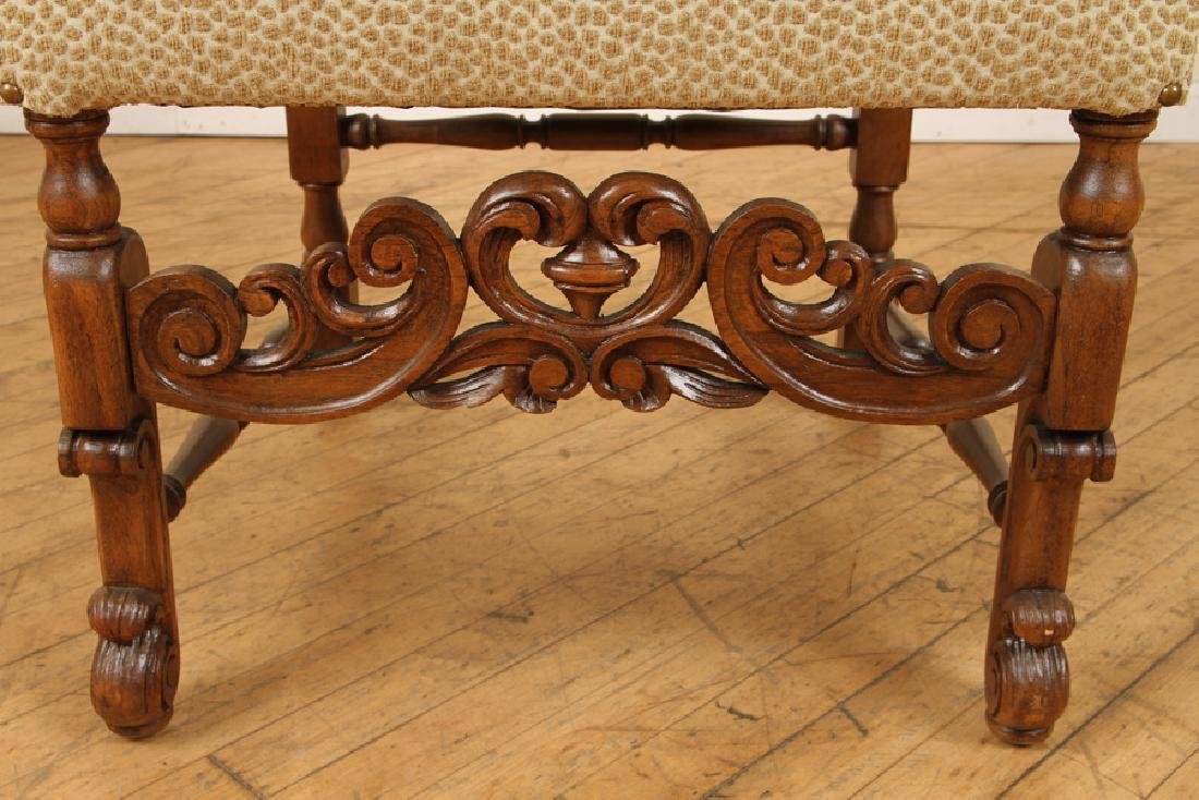 SET 8 DINING CHAIRS GRIFFIN CARVED ARM RESTS 1890 - 6