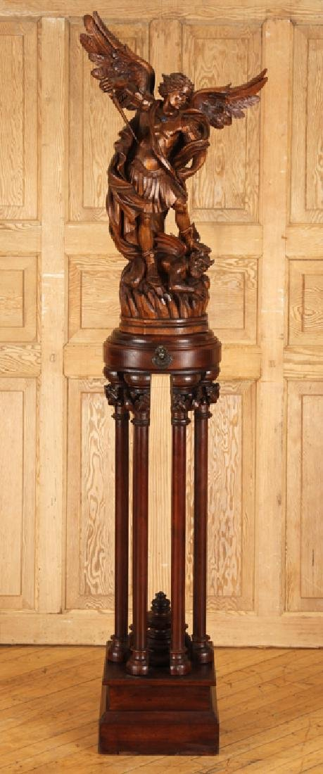 CARVED WOOD FIGURE SAINT MICHAEL CARVED PEDESTAL