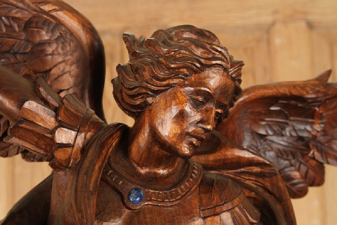 CARVED WOOD FIGURE SAINT MICHAEL CARVED PEDESTAL - 2