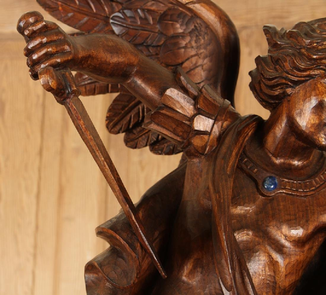 CARVED WOOD FIGURE SAINT MICHAEL CARVED PEDESTAL - 3
