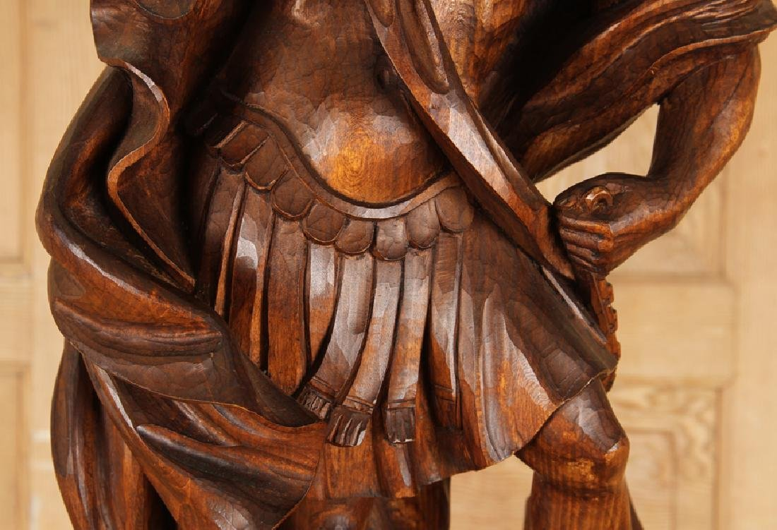 CARVED WOOD FIGURE SAINT MICHAEL CARVED PEDESTAL - 4