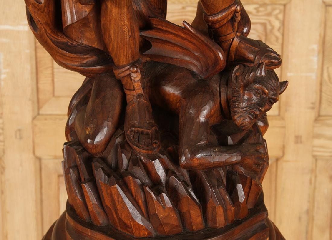 CARVED WOOD FIGURE SAINT MICHAEL CARVED PEDESTAL - 5