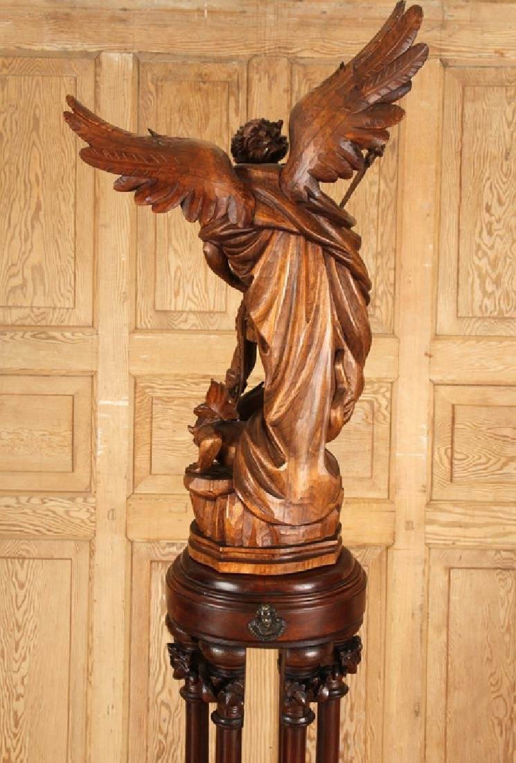 CARVED WOOD FIGURE SAINT MICHAEL CARVED PEDESTAL - 8