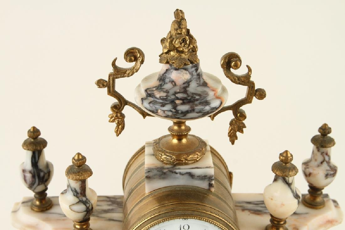 FRENCH LOUIS XV STYLE MANTLE CLOCK & GARNITURE - 2