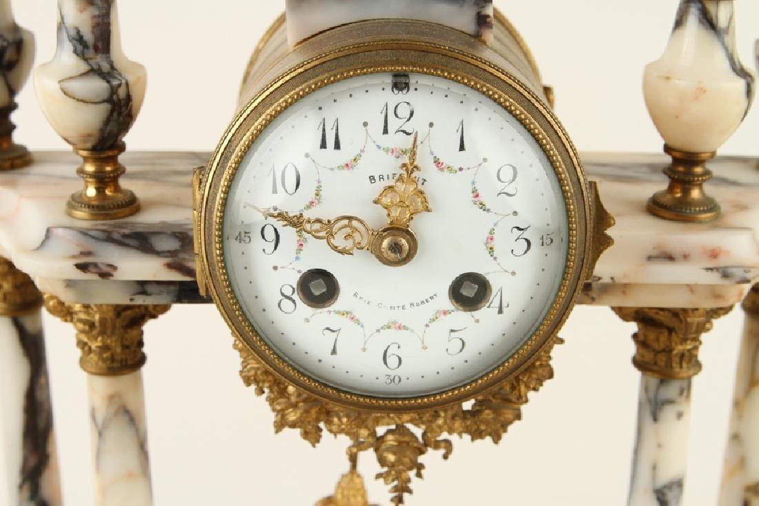 FRENCH LOUIS XV STYLE MANTLE CLOCK & GARNITURE - 3