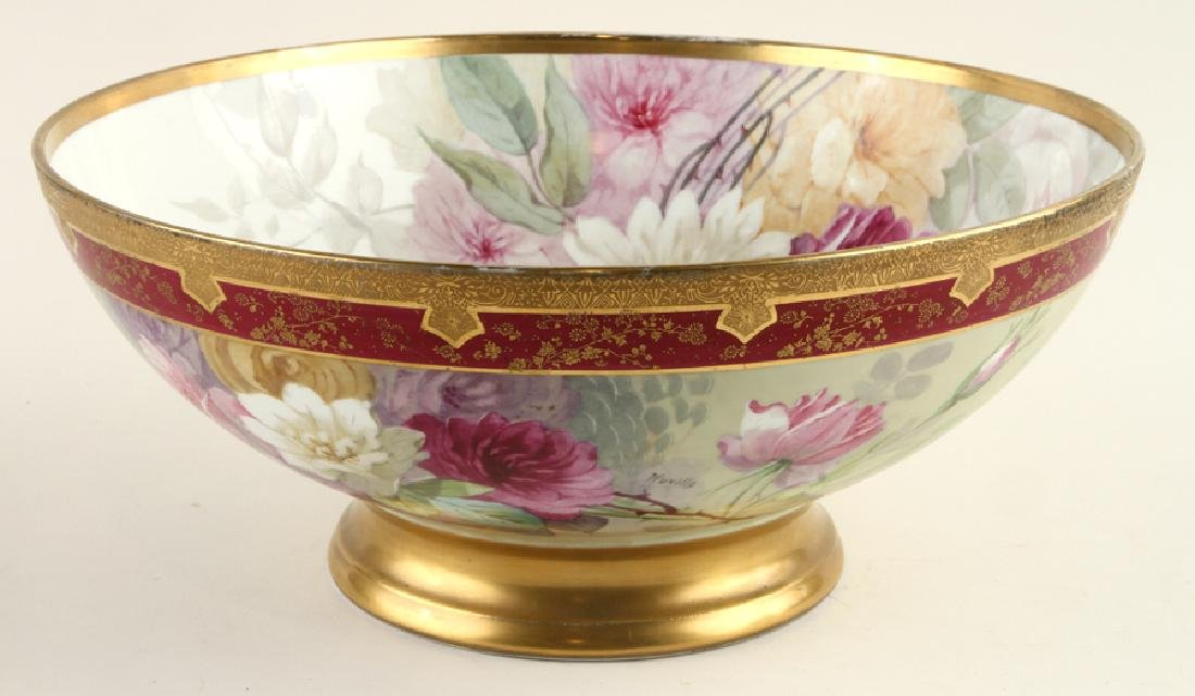 LATE 19TH C. HAND PAINTED PORCELAIN PUNCH BOWL
