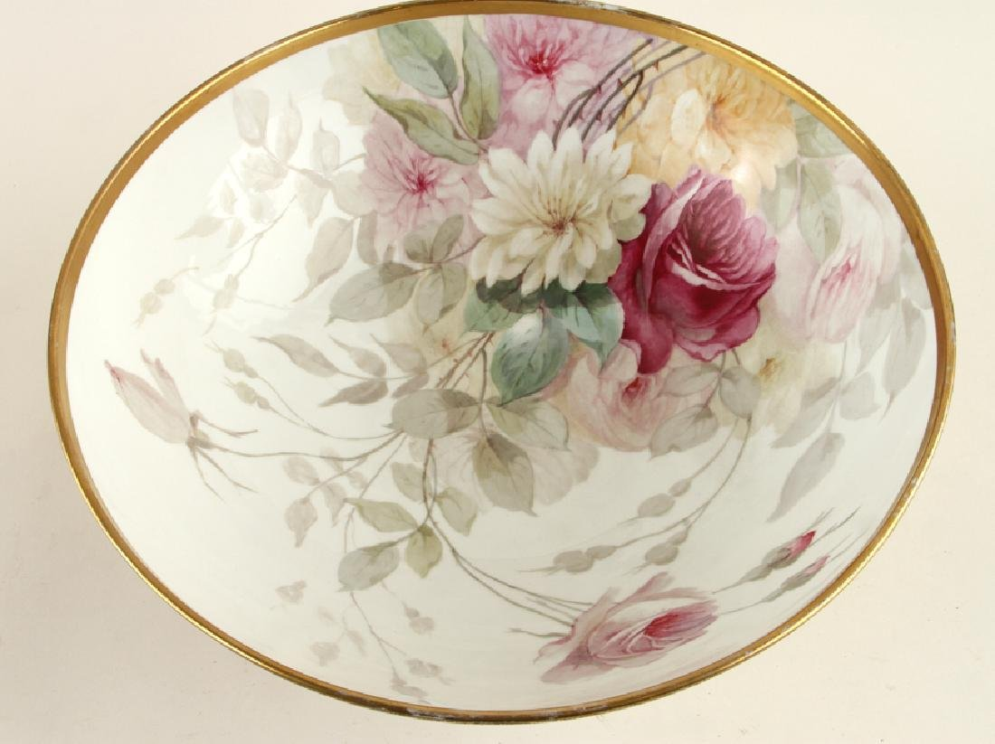 LATE 19TH C. HAND PAINTED PORCELAIN PUNCH BOWL - 2