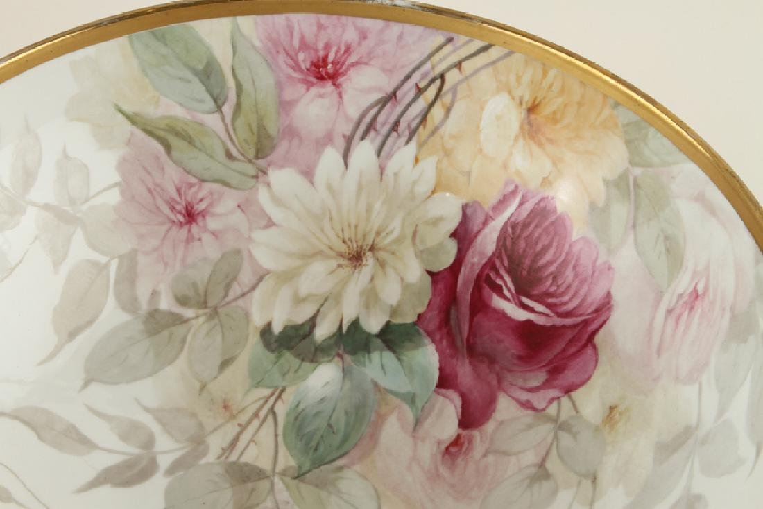 LATE 19TH C. HAND PAINTED PORCELAIN PUNCH BOWL - 3