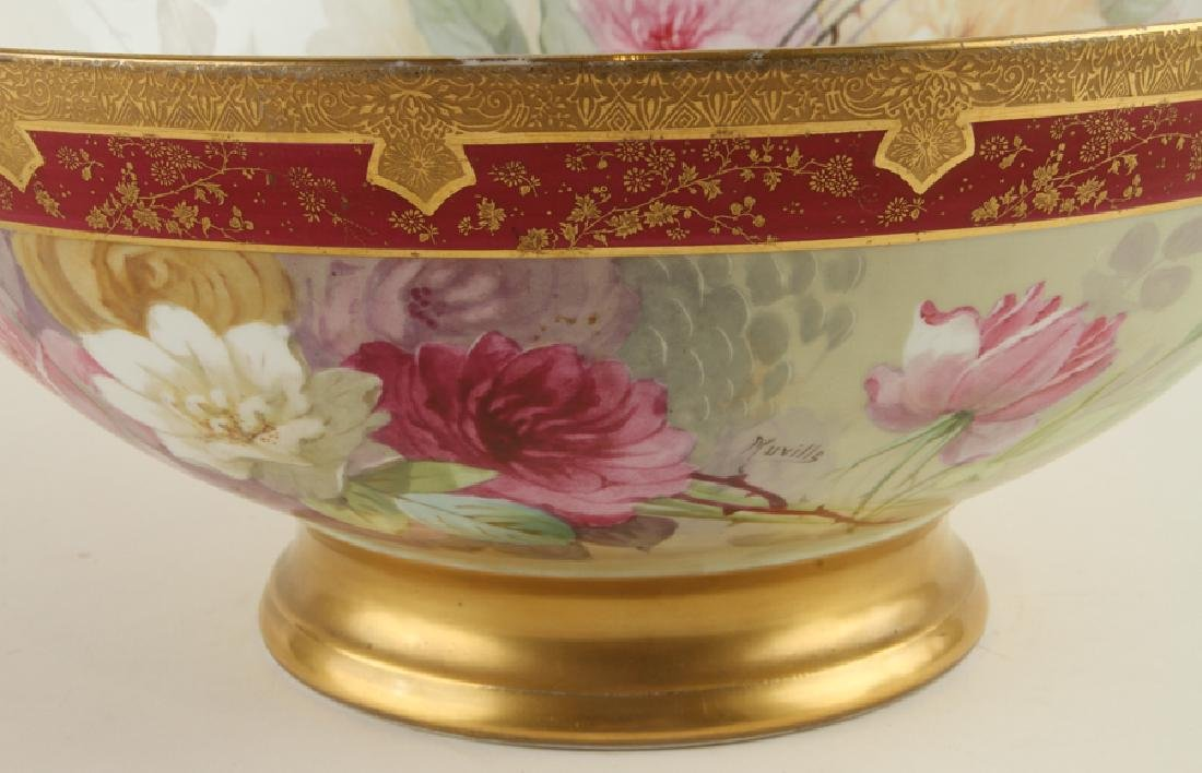 LATE 19TH C. HAND PAINTED PORCELAIN PUNCH BOWL - 4