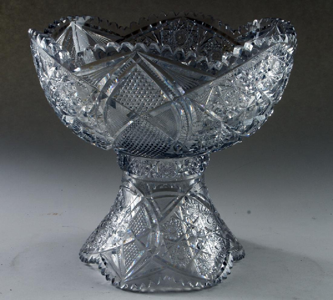 CUT CRYSTAL PUNCH BOWL ON STAND UNMARKED