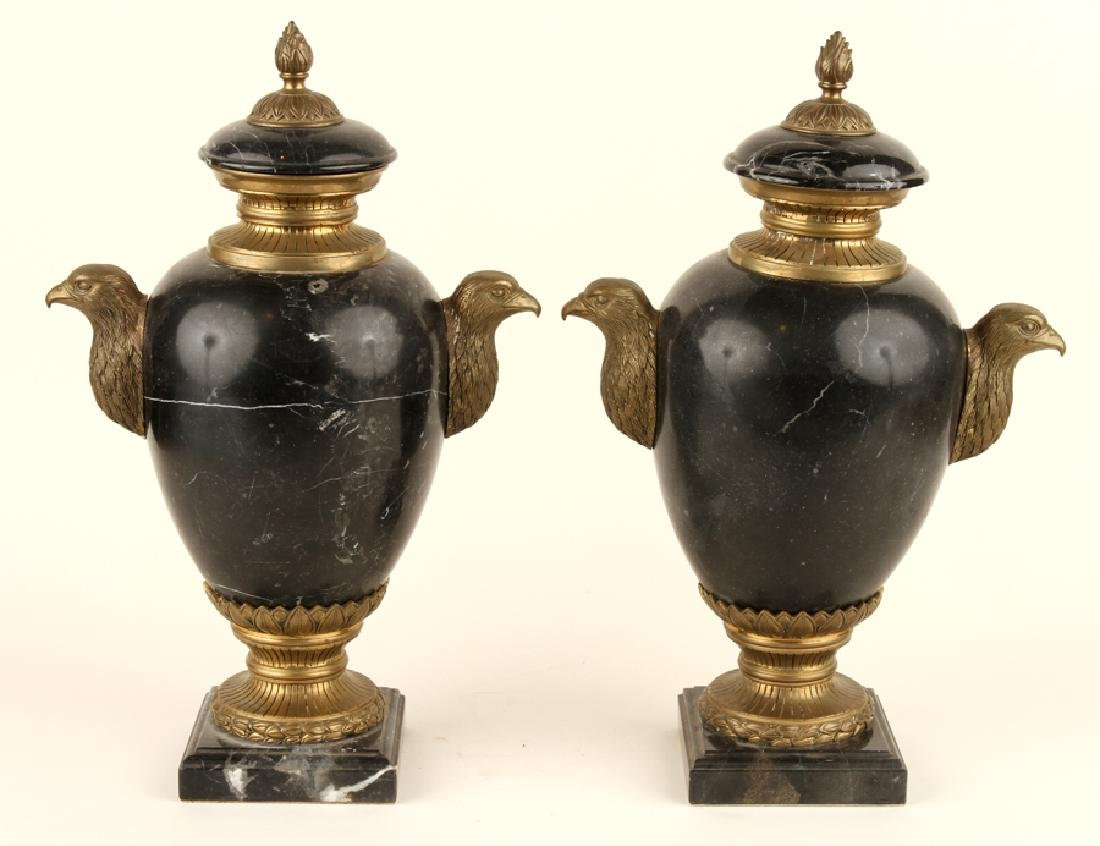 PAIR NEOCLASSICAL STYLE BLACK MARBLE URNS