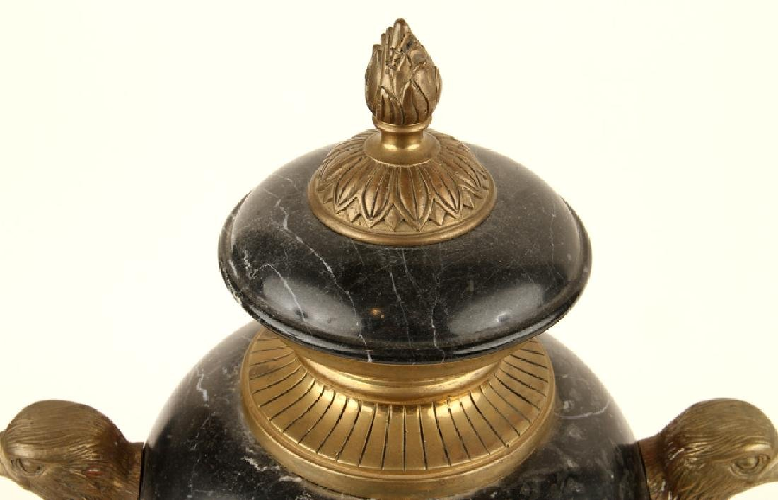 PAIR NEOCLASSICAL STYLE BLACK MARBLE URNS - 3