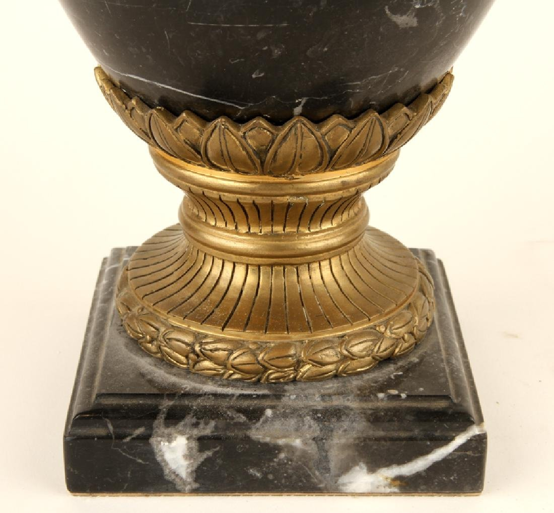 PAIR NEOCLASSICAL STYLE BLACK MARBLE URNS - 5