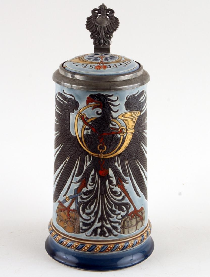 GERMAN METTLACH PORCELAIN BEER STEIN #1856 MARKED