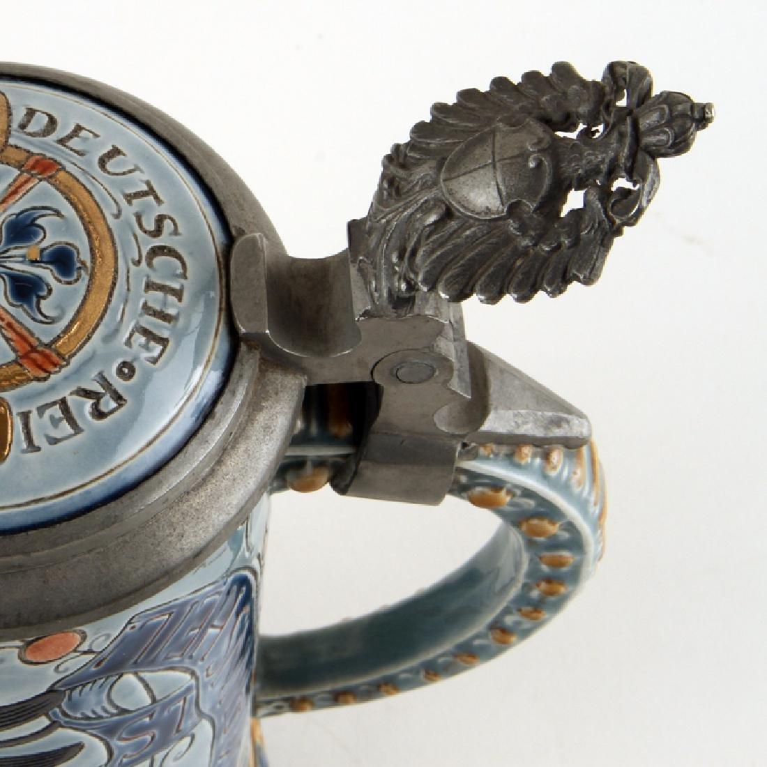 GERMAN METTLACH PORCELAIN BEER STEIN #1856 MARKED - 2