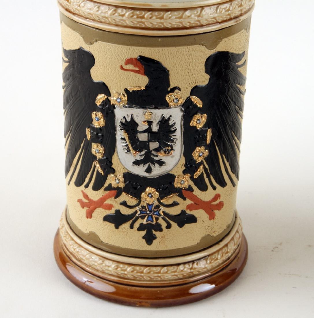 TWO GERMAN METTLACH PORCELAIN BEER STEINS MARKED - 3