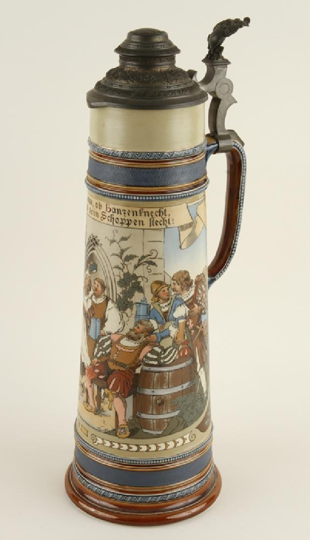 GERMAN METTLACH LIDDED BEER STEIN #2223 MARKED