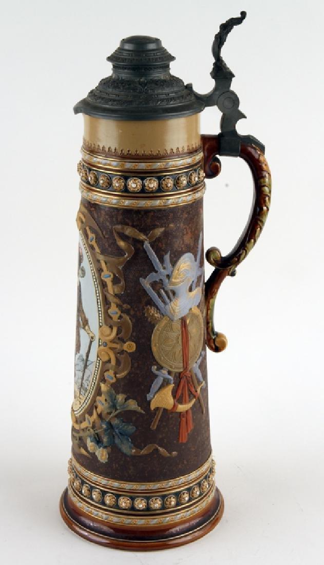 GERMAN METTLACH BEER STEIN #1562 TRUMPETER 5.65L
