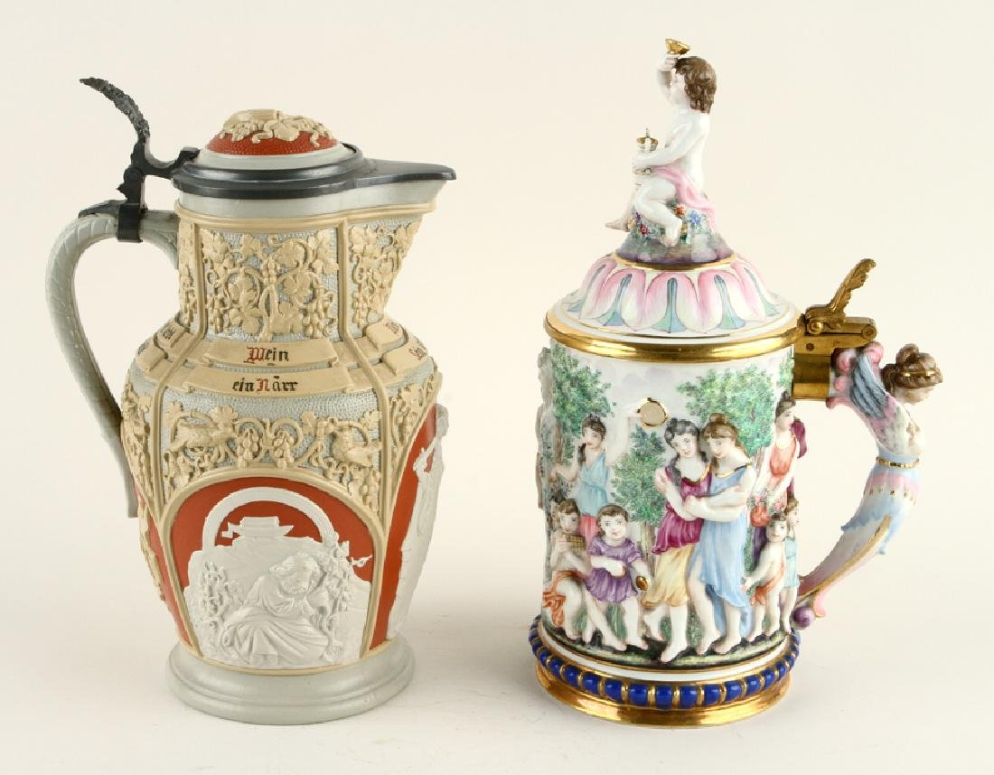 TWO CONTINENTAL LIDDED BEER STEINS