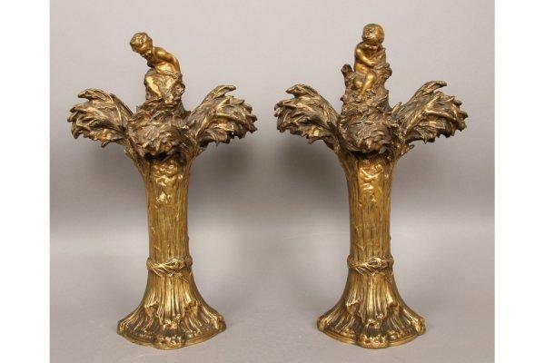 10: 10: Rare pair Raoul Larche gilt bronze lamps