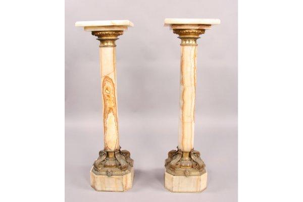 11: Pair antique alabaster bronze classical pedestals