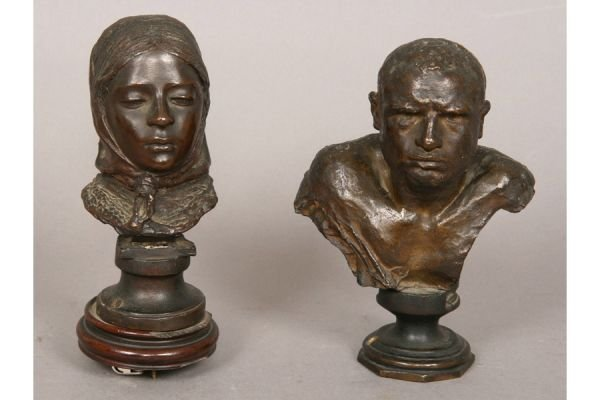 12A: Two petite bronze busts.