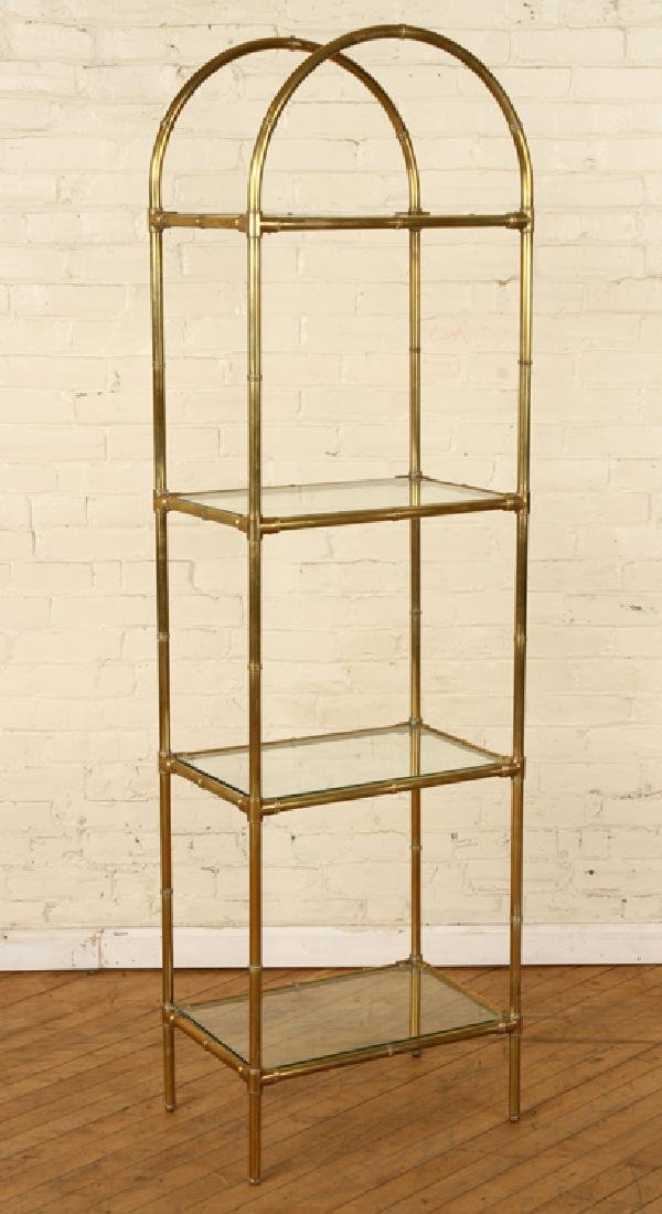 BRONZE BAMBOO FORM BOOKCASE GLASS SHELVES C.1970