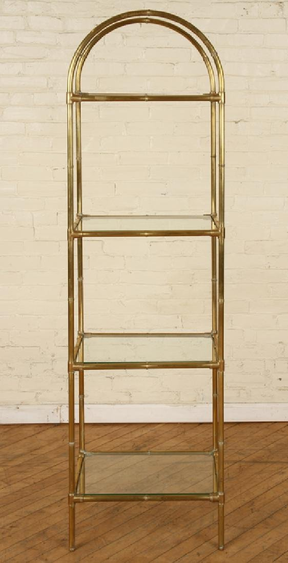 BRONZE BAMBOO FORM BOOKCASE GLASS SHELVES C.1970 - 2