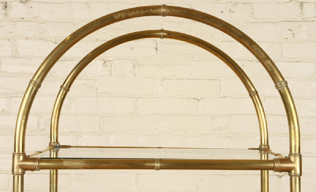 BRONZE BAMBOO FORM BOOKCASE GLASS SHELVES C.1970 - 3