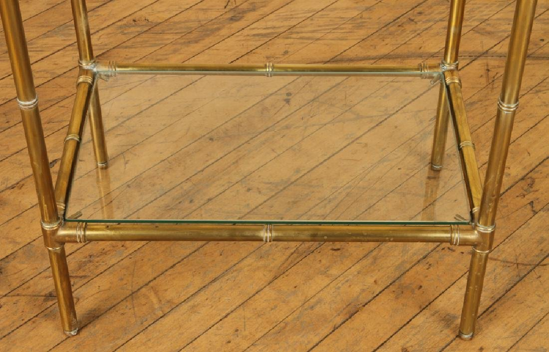 BRONZE BAMBOO FORM BOOKCASE GLASS SHELVES C.1970 - 4