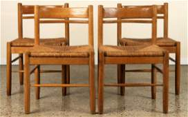 SET 4 FRENCH OAK SIDE CHAIRS CHARLOTTE PERRIAND
