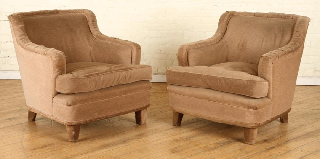 PAIR UPHOLSTERED CLUB CHAIRS MANNER OF JANSEN