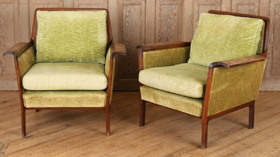 PAIR ROSEWOOD UPHOLSTERED CLUB CHAIRS CIRCA 1950