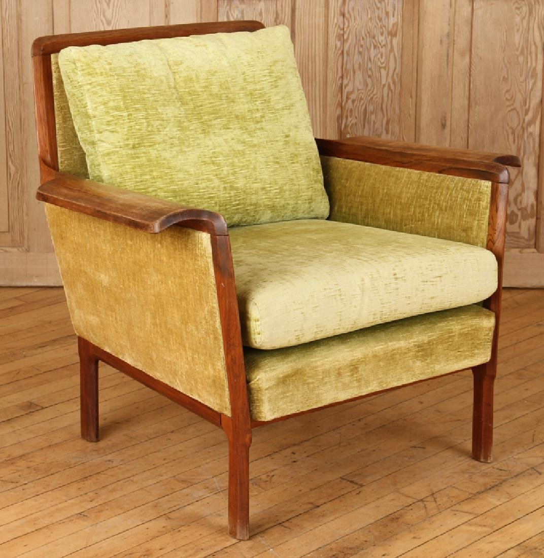 PAIR ROSEWOOD UPHOLSTERED CLUB CHAIRS CIRCA 1950 - 2