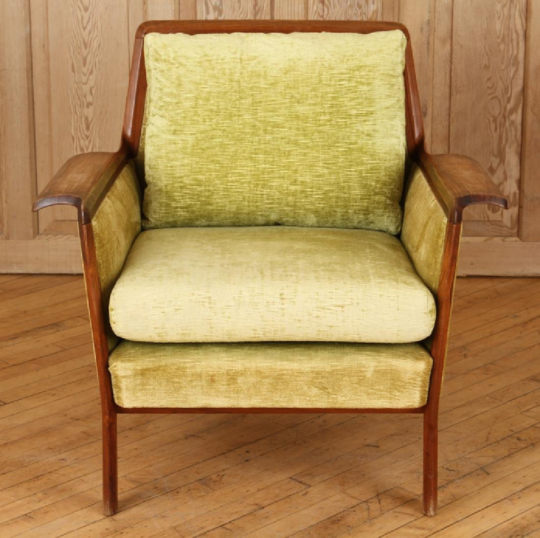 PAIR ROSEWOOD UPHOLSTERED CLUB CHAIRS CIRCA 1950 - 3